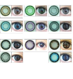 As cores das lentes coloridas nos olhos