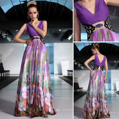 Print V-Neck Floor Length Tencel Chiffon Dress