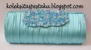 Tas Pesta Clutch Bag Biru Muda Mewah dan Anggun