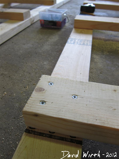 screw pattern for wood shelf, wood cross piece