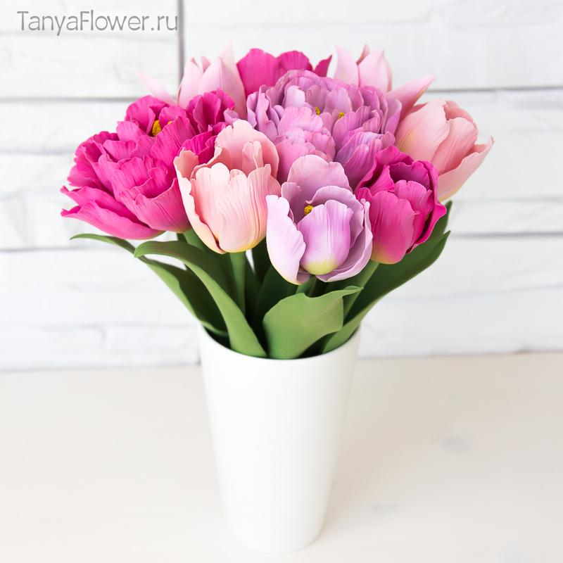 свадебный букет тюльпанов ручной работы из полимерной глины