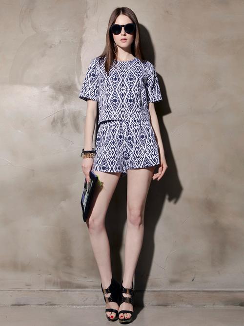 Jacquard Print Highwaist Shorts