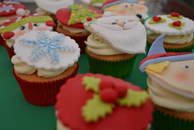 cupcakes Navidad fondant papa noel