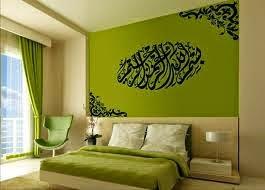 Desain interior kamar tidur warna hijau