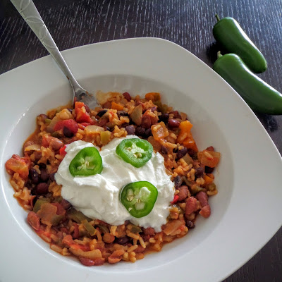 Spicy 3 Beans and Rice:  A spicy, one-pot, one-dish, vegetarian meal of beans and rice made with 3 different types of beans.