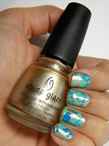 Turquoise and Gold Water Spotted Nails