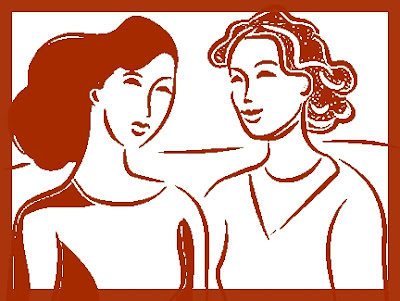 Two clip art women