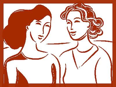 Two clip art women