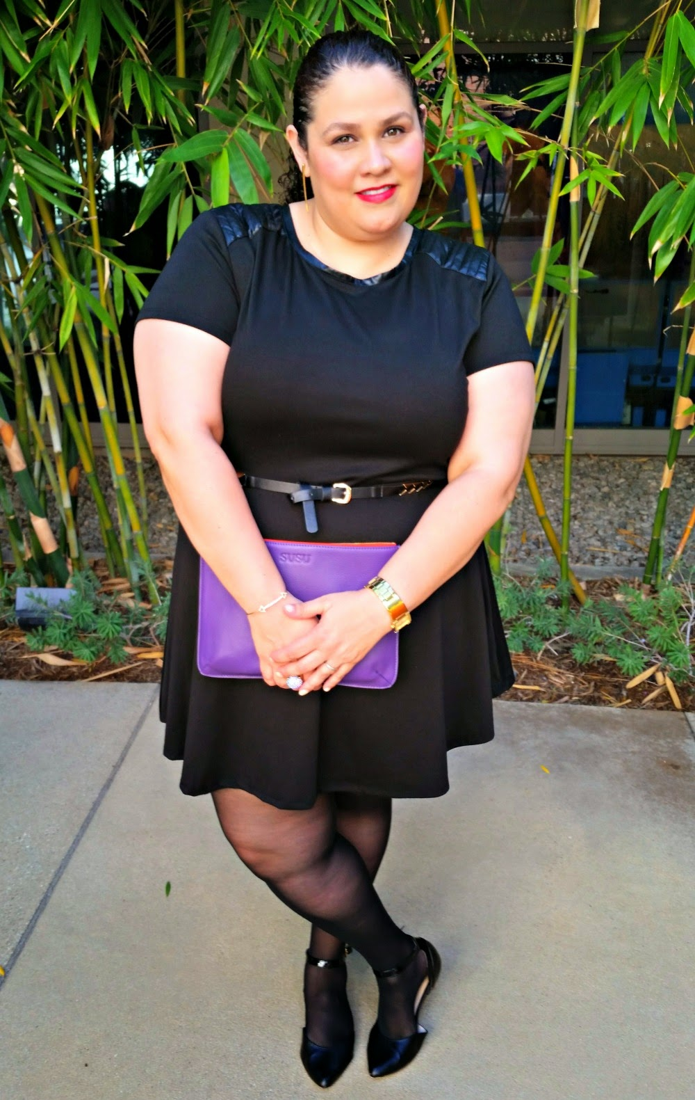 Plus size outfit, lbd, susu handbags, party outfit, fashion essential, torrid belt, jms tights,
