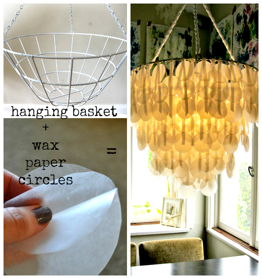 Upcycle wax paper chandelier the refab diaries great example of some thrifty refabbing and creative reinterpreting two places to go for a complete tutorial ive used images from both design aloadofball Gallery