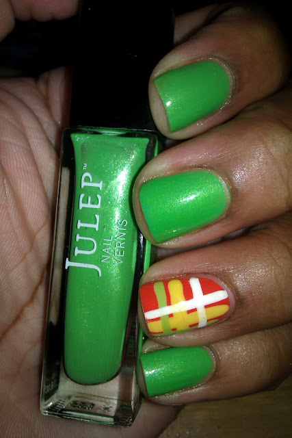 Julep, Leah, green, plaid, Scottish, Irish, Brave, nail art, design, mani
