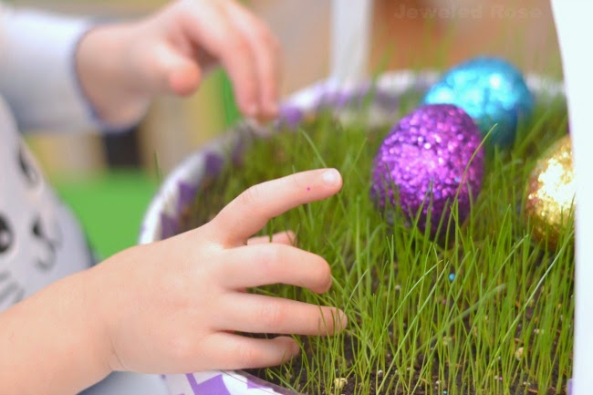 Growing Easter basket grass is really easy and a fun project for the kids!  My girls loved watering their grass and watching it grow!