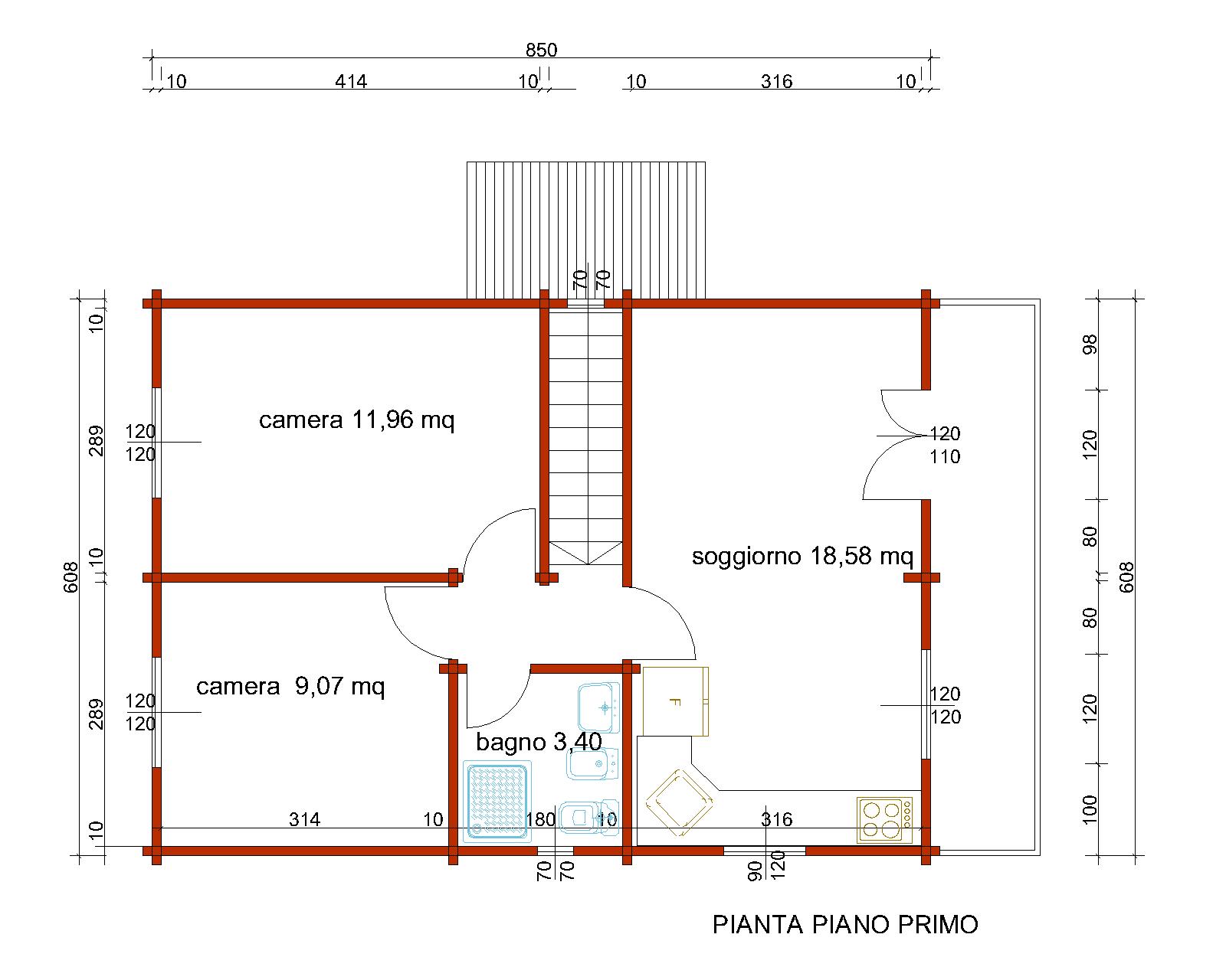 Progetti di case in legno casa 103 mq balcone for Progetti di case costiere