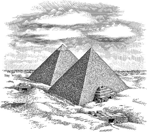 10-Egyptian-Pyramids-Michael-Halbert-Scratchboard-Images-of-Animals-and-Architecture-www-designstack-co