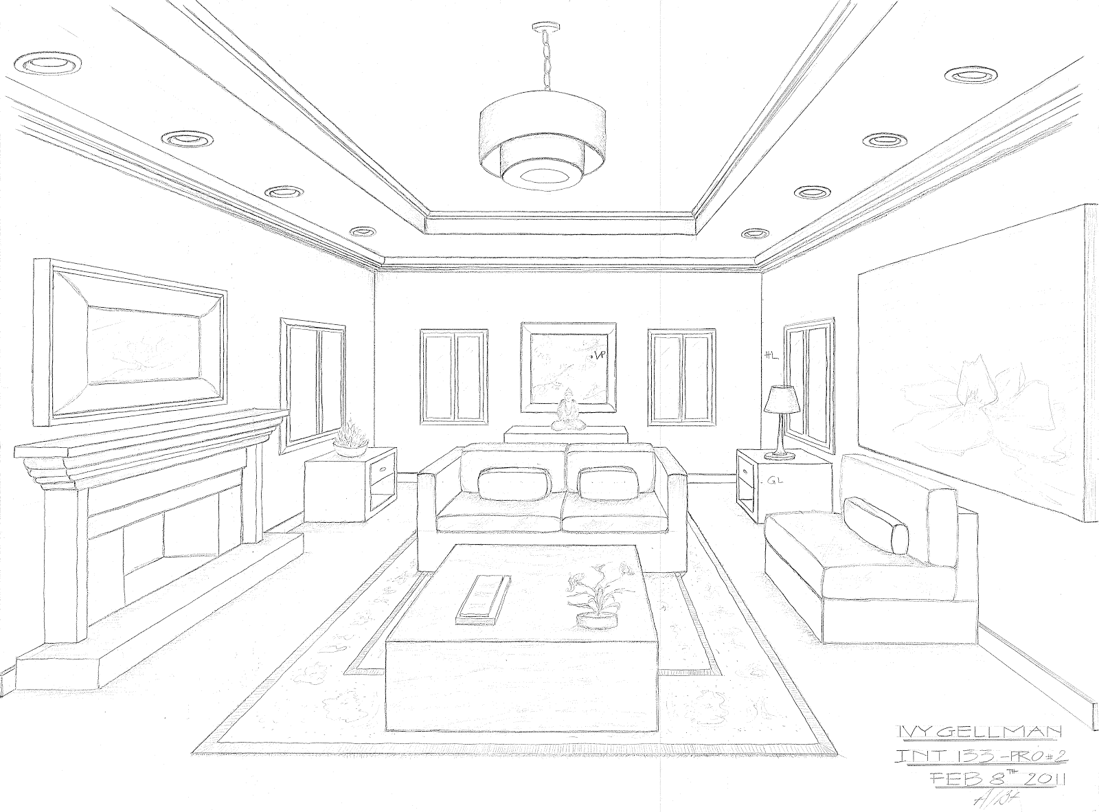 Interior design perspective drawing for Drawing room bed design