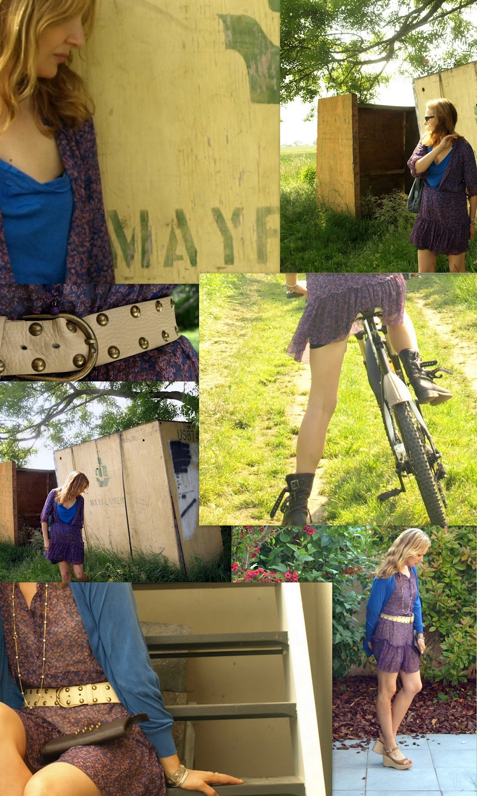 Floral dress, Floral dress and combat boots, biking in a dress