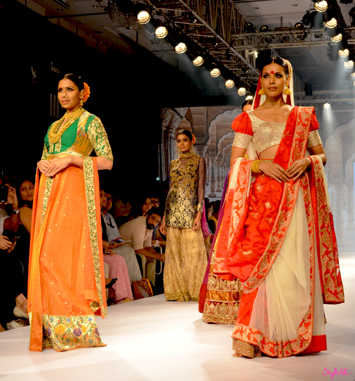 Neeta Lulla showcases her collection of kanjeevaram silks at Lakme Fashion Week Winter Festive 2015 at the St. Regis Hotel