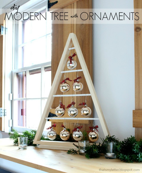 diy wood tree with ornaments