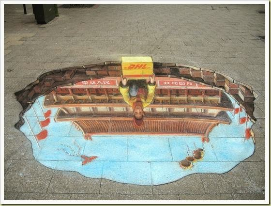 julian beever repartidor de dhl desde china
