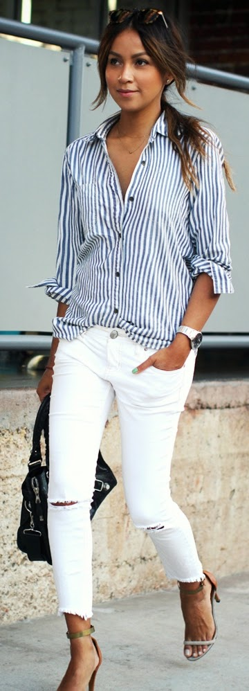 Striped with White Ripped Jeans and Ankle Strap Heels  | Classic Street Outfits