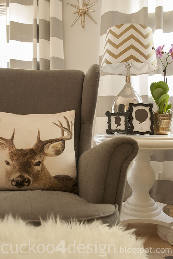 Ikea Strandmon chair and deer/stag head pillow