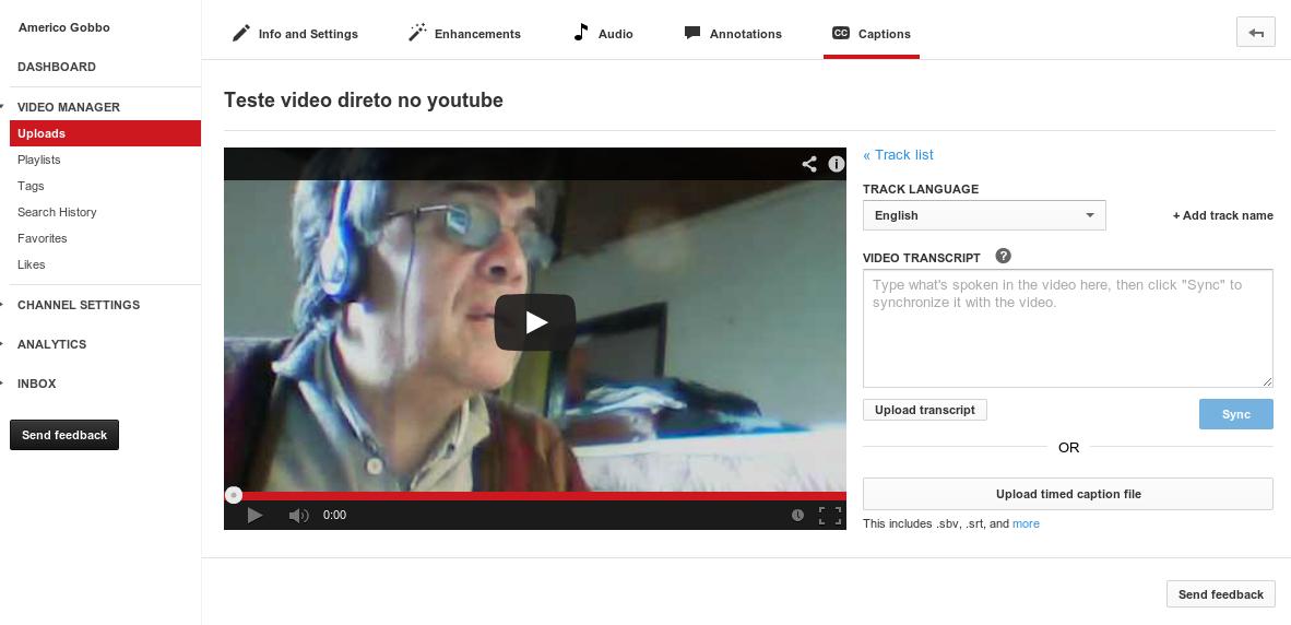 Carregando o arquivo das legendas no YouTube.