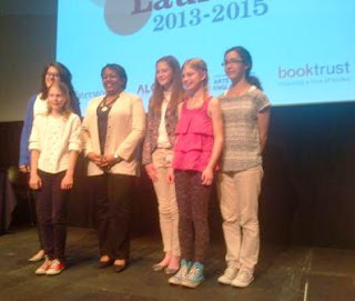 Teenagers with 8th Children's Laureate, Malorie Blackman