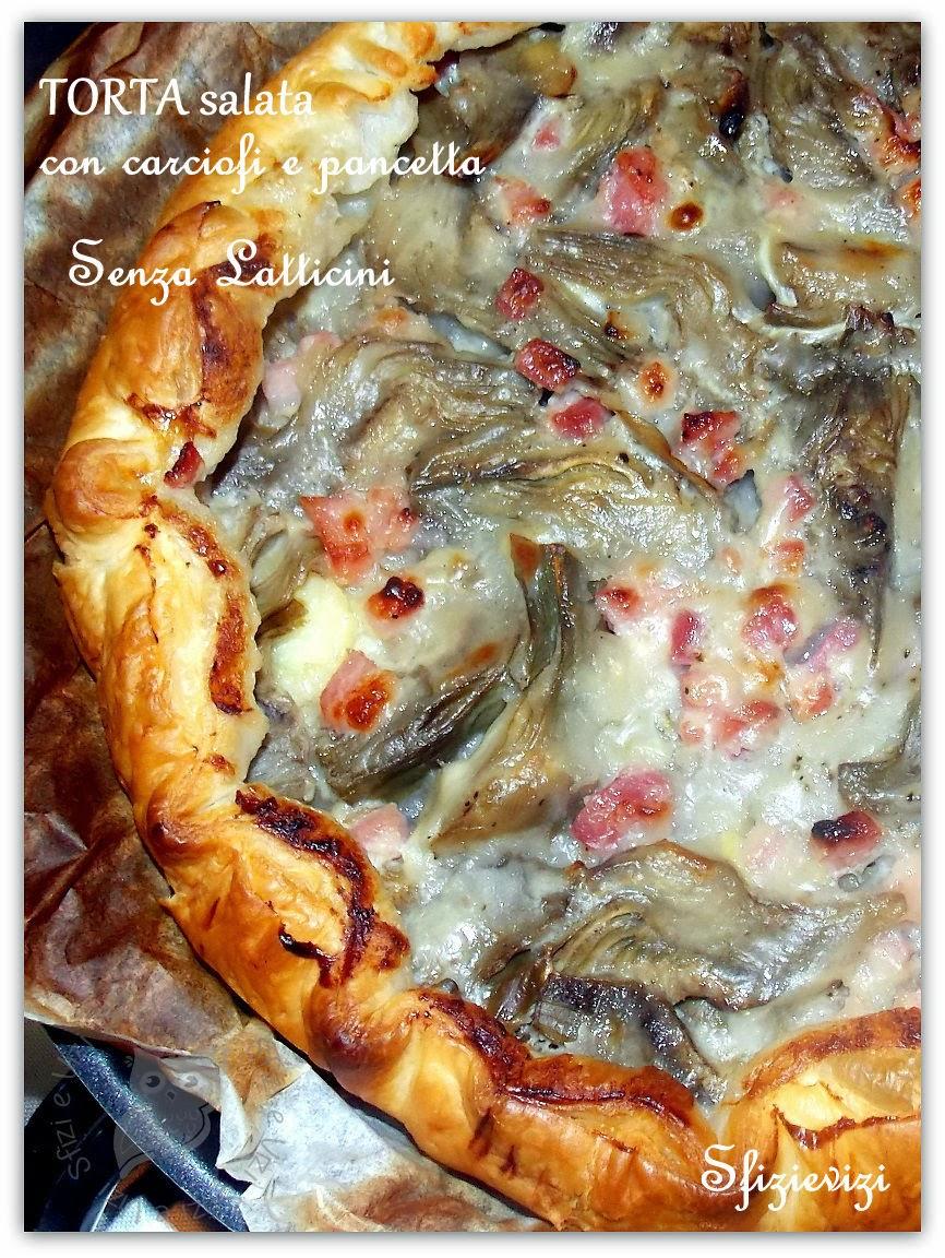 torta salata con cuori di carciofo, besciamella veg e pancetta senza proteine del latte - ricetta senza latticini -