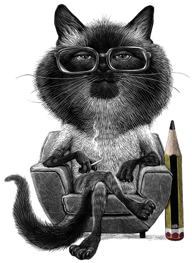 16-Smart-Cat-Ricardo-Martinez-Wild-Animals-inside-Scratchboard-Drawings-www-designstack-co