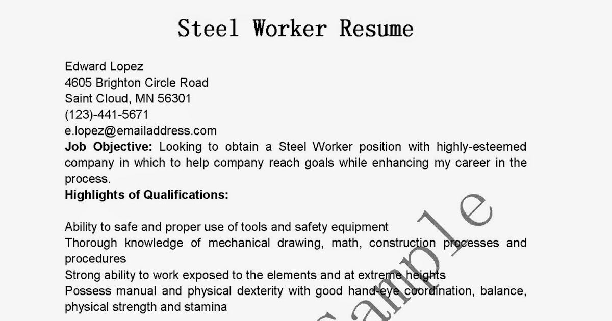resume samples  steel worker resume sample