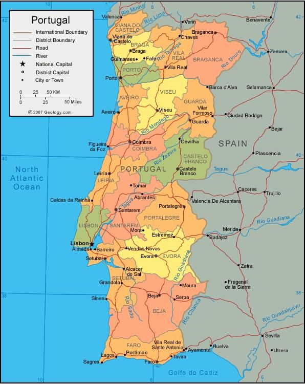 Mapa de Portugal para imprimir