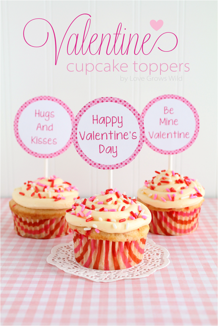 graphic regarding Cupcake Printable known as Valentine Cupcake Topper Printable for Boys Women of all ages - Get pleasure from