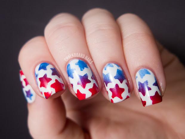 stenciled star nails tutorial