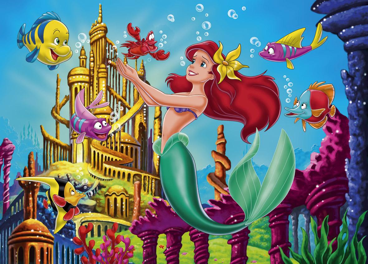 Colorear Pintar: Ariel y su Castillo bajo el Mar