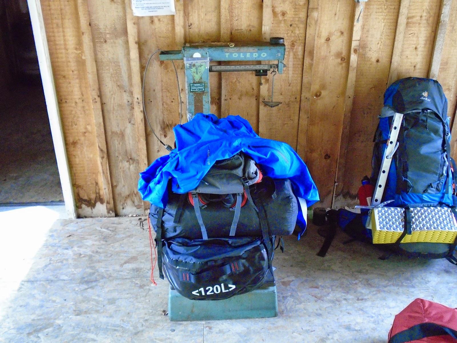 """My bag (aka """"Bertha"""") getting weighed in."""