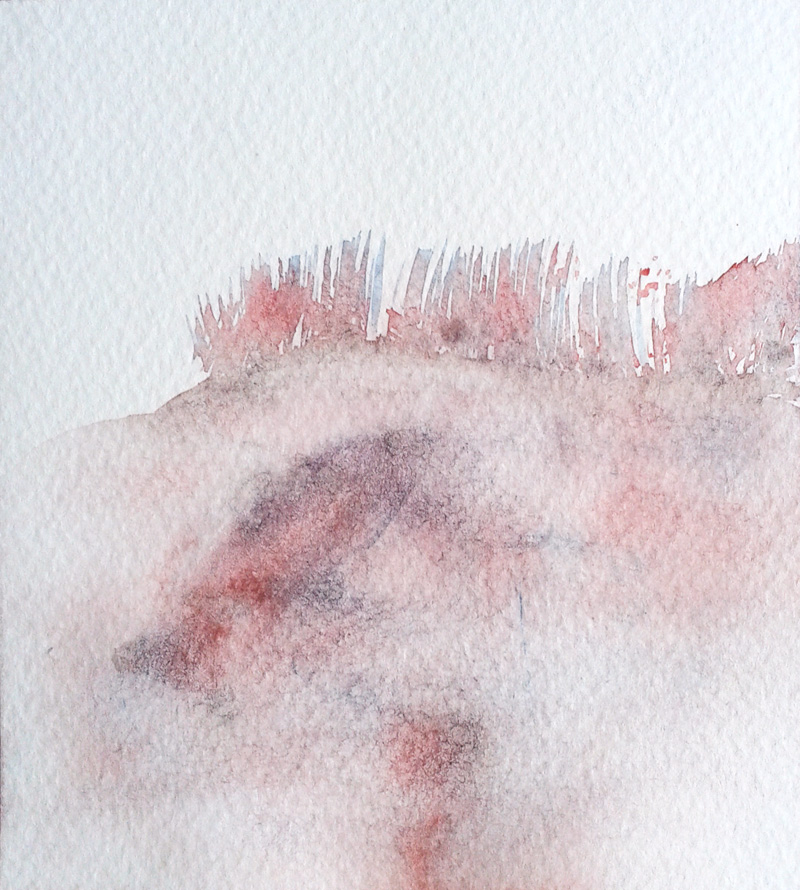 minimal abstract watercolor landscape in coral red, blue, grey, earth tones, purple