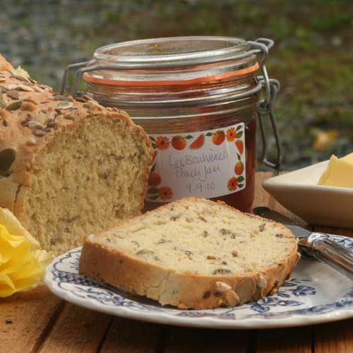 Irish Food and Drink: White Soda Bread with Seeds (breakfast setting) photo by Hester Casey