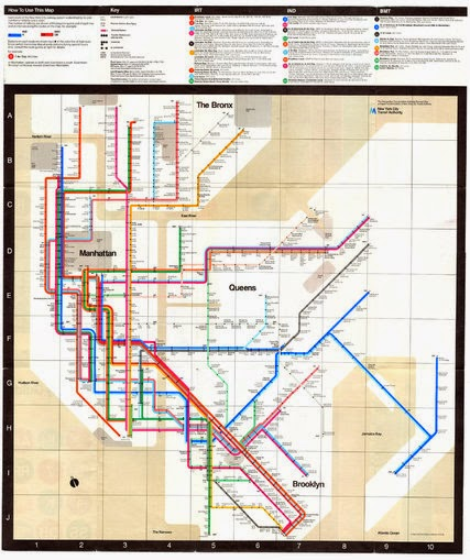 Massimo Vignelli newyork city subway map from 1972, designed by Mr. Vignelli