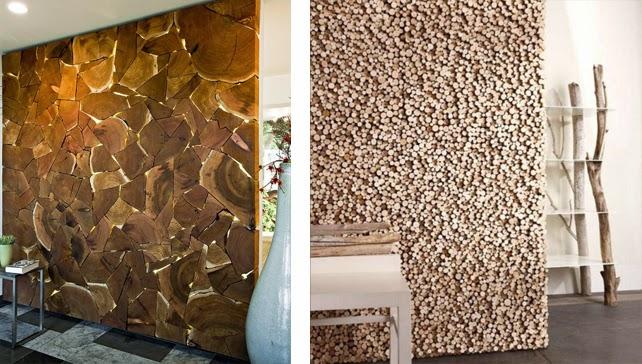 Revestimientos de madera reciclada inspiraci n - Tronco de arbol para decoracion ...