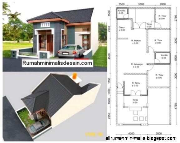 Penampakan Denah Rumah Minimalis 1 Lantai   Model Rumah Modern