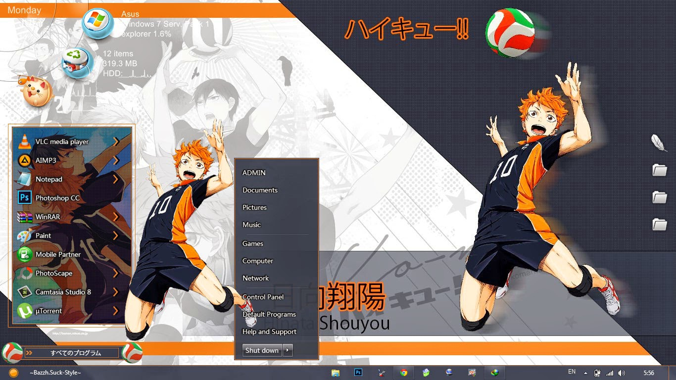 [Theme Win 7] Haikyuu!! By Bashkara