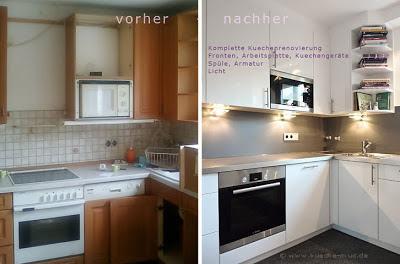 Diese Küche hat sich komplett verwandelt - neue Küchentschranküren, neue Arbeitsplatte und Rückwand, moderne Haushaltsgeräte . Die Küche ist wie neu.