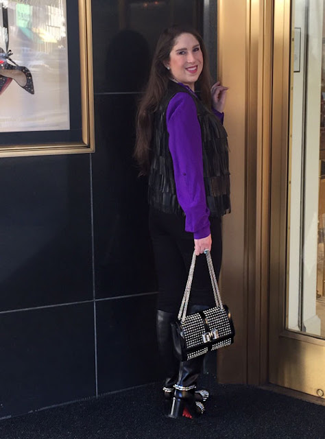 Louboutin Spiked Sweet Charity Handbag and Knee High studded boots in beverly hills at Saks Fifth Avenue