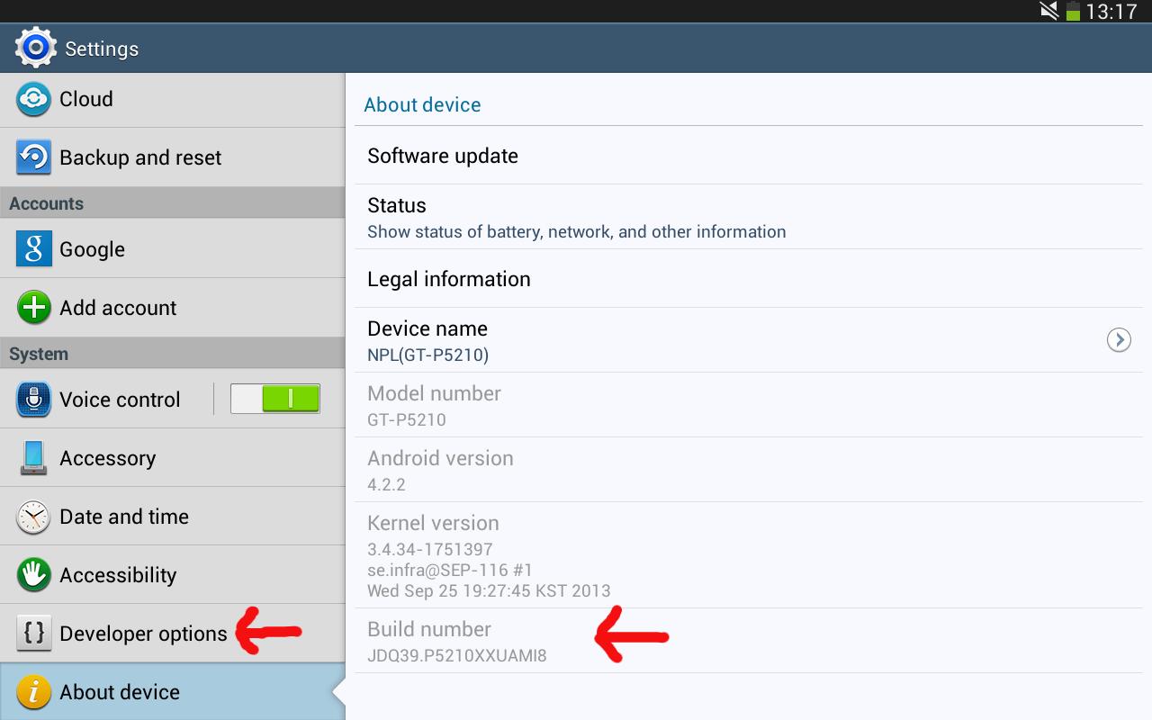 blog enable developer options hidden menu in samsung galaxy tab 3