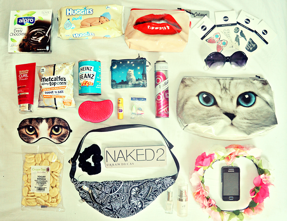What I am packing for Leeds Festival, Catseye London, Urban Decay Naked Palette 2, Samsung Galaxy Ace, Fickle Tattoos, Umberto Giannini Curl Friends, Alpro Soya Dessert, Metcalfes Topcorn, Scrunchie, Hair Crown, Heinz, Tangle Teezer, uk fashion blog