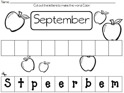 colors and kindergarten cut and paste the months of the year