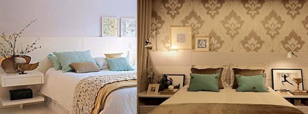 Painéis delicados, em madeira branca e papel de parede