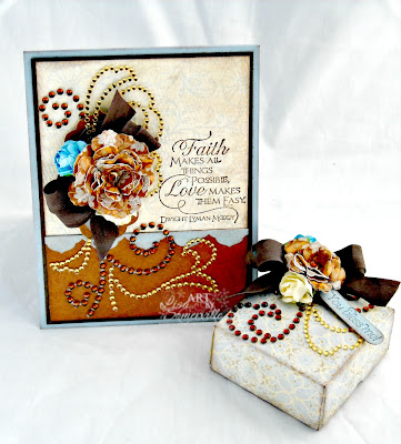 Card and Gift Box use Authentique's Hope pattern paper Collection.  All stamps Our Daily Bread Designs, embellished with Zva Creative Pearls/Rose.  Designer Lisa Somerville