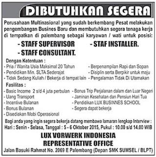 Lowongan Kerja LUX VORWERK INDONESIA REPRESENTATIVE OFFICE