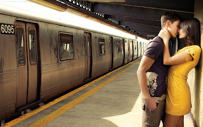 Romantic couple in railway station wallpapers